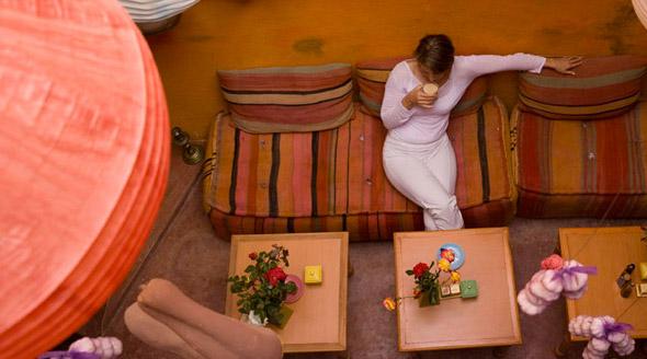 Wegetariańska restauracja w medynie Marrakeszu