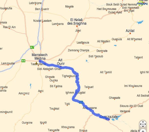 Mapa drogi z Ouarzazate do Marrakeszu, przekraczania gór Atlas
